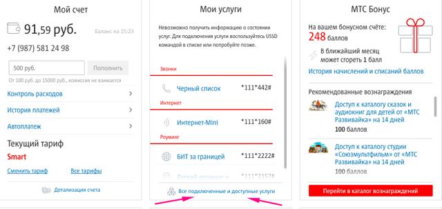 как отключить дополнительные услуги мтс россия