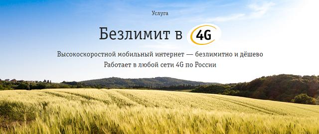"""Услуга Билайн """"Безлимит в 4G"""""""