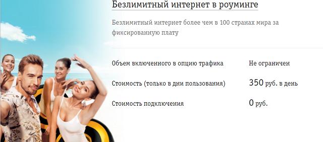 """Услуга Билайн """"Безлимитный интернет в роуминге"""""""